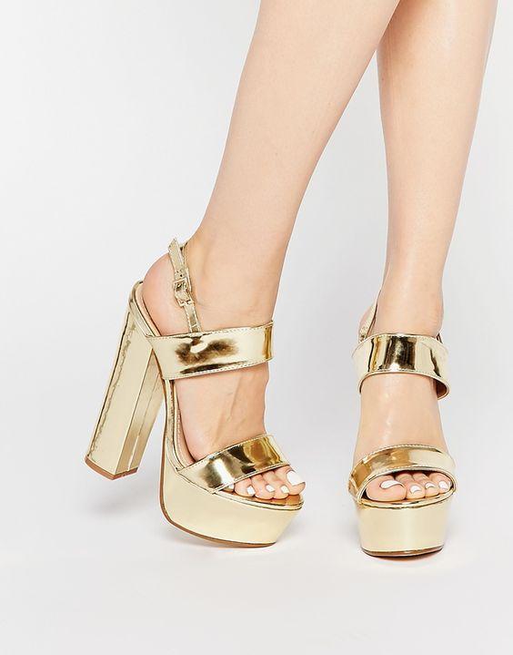 Image 1 of Public Desire Shakira Gold Platform Heeled Sandals ...