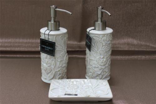 Cynthia Rowley Porcelain Fl Bath Accessories Set Cream Beige 3pc And