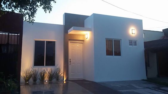 Fachada casa chica infonavit fachadas de casa pinterest for Piletas para casas chicas