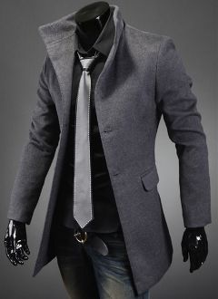 Men's High Collar Coat with Back Leather Details. Stylish