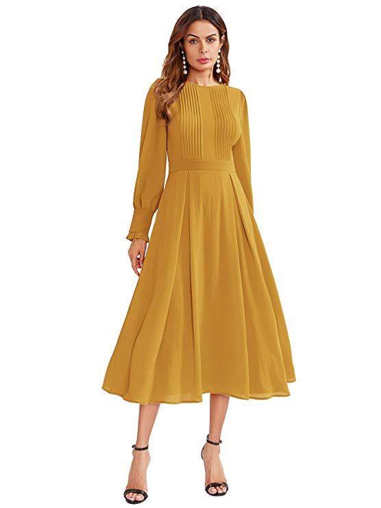 Milumia Women S Elegant Frilled Long Sleeve Pleated Fit Flare Dress At Amazon Women S Clothing Store Fit Flare Dress Flare Dress Fit And Flare Dress