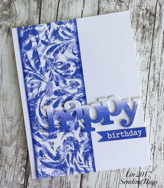 https://flic.kr/p/S3Jjan | quickcard148 | I have been wanting to play with this Leaf and Floral Background stamp again, and LaVon's challenge was perfectly timed!  Using a technique that Cindy first used.  I  stamped it using shaded lilac distress ink, then turned the stamp 180 degrees and stamped it a 2nd time using blueprint sketch distress ink.  The panel was trimmed down, inked along the edges, and attached to a white card base.  My happy die-cut was then sponged with both inks in an omb...: