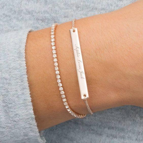 Personalised Crystal And Bar Bracelet Set