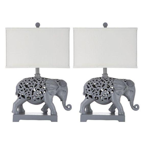 Safavieh 2-piece Hathi Sculpture Table Lamp Set, Light Grey