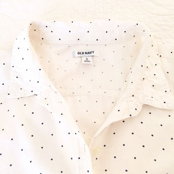 Old Navy Polka Dot Button Down Worn once. I wore this VERY oversized. White with black dots. Long sleeved, but I wore it with  the sleeves rolled. No stains, rips or holes. Old Navy Tops Button Down Shirts