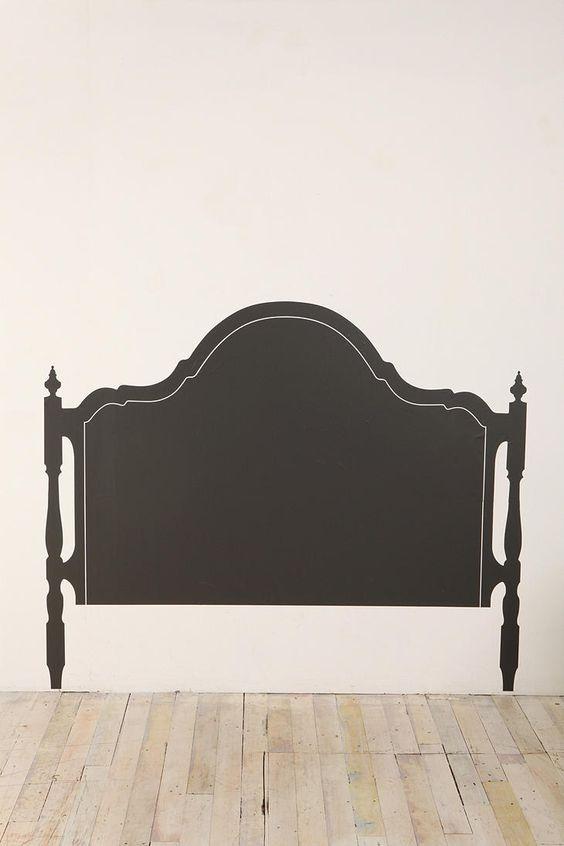 Wallpaper headboard vinyls and faux headboard on pinterest for Painted headboard on wall