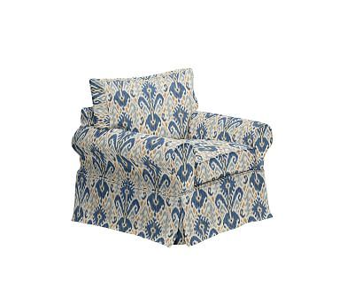 PB Basic Slipcovered Armchair, Polyester Wrapped Cushions, Ikat Geo Blue