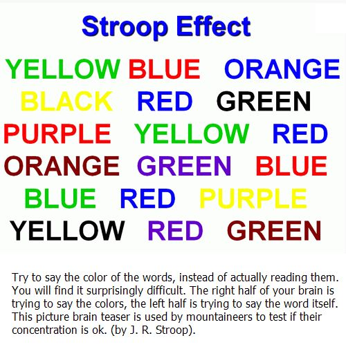 stroop effect science fair I became interested in this idea when i was in my mom's eighth grade classroom  i saw a list of words printed in colors that didn't match the actual word i tried to.