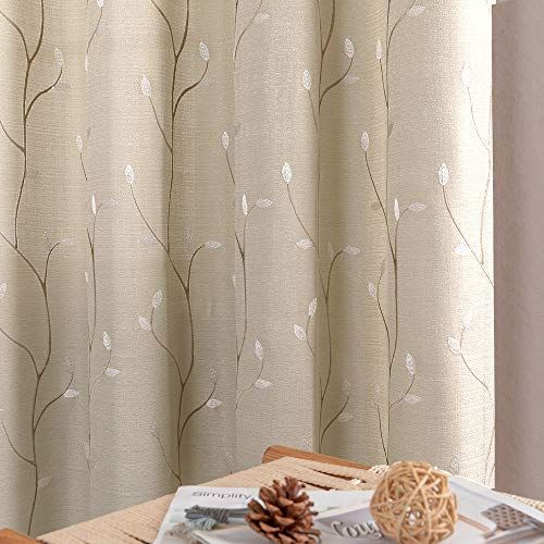 Topick Beige Curtains For Bed Room 63 Inch Size Floral Embroidered Drapes For Dwelling Room E In 2020 Curtains Beige Curtains Panel Curtains