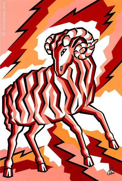 JACQUELINE DITT - Widder Sternzeichen (weitere i.Shop) Artcard Bild Bilder Karte