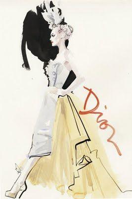A Rene Gruau sketch for Dior  http://decoymagazine.blogspot.com/2011/09/david-downton-couture-voyeur_14.html