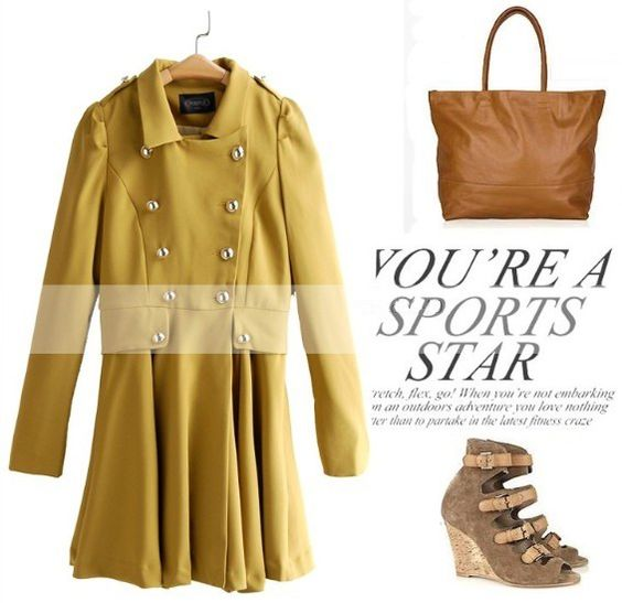Stylish Yellow Lapel Collar Double-Breasted Womens Outerwear