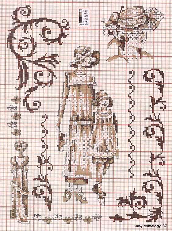 point de croix femme vintage - cross stitch woman: