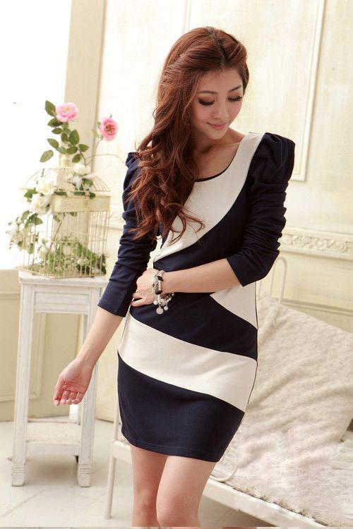 Elegant Scoop Neck Color-Match Irregularity Hem Long Sleeve Cotton Dress For Women (BLUE) China Wholesale - Sammydress.com