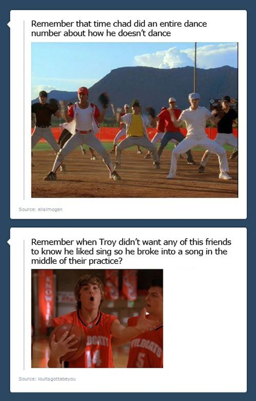 """High School Musical problems… Dont forget """"sticking to the status quo!"""" when NO ONE stuck to it (see 1st movie)"""