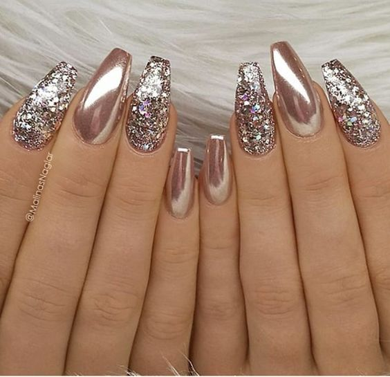 60 Gorgeous Glitter Acrylic Coffin Nails Designs Rose Gold Metallic Nails Glitter Nail Art Metallic Nails
