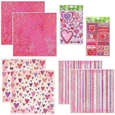 CRAZY4U 12x12 Papers & Stickers scrapbooking LOVE ROMANCE HEARTS