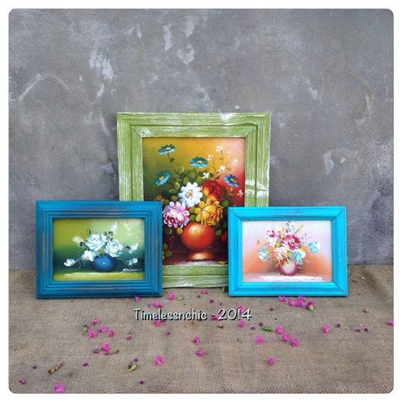 Picture Frames Distressed - Bohemian Decor - Picture Frame Set ...