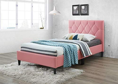 Buy Pink Bonded Leather Tufted Button Platform Bed Frame Twin Size