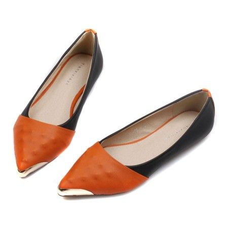 Womens Spicing Color Metalic Head Flat Shoes