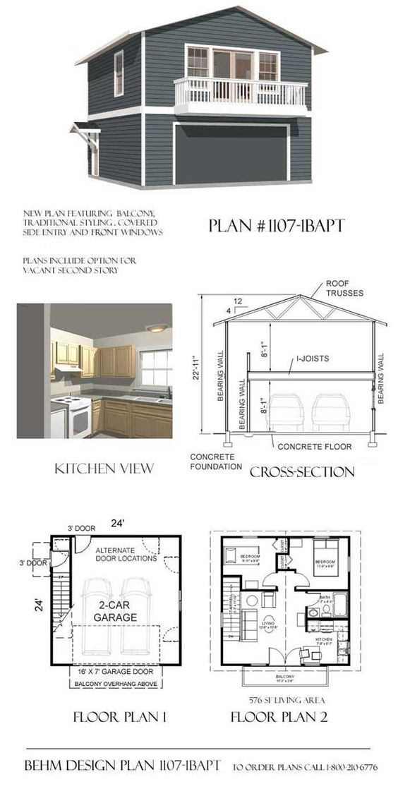 Garage with apartment balcony plan 1107 1bapt 24 39 x 24 for Gambrel apartment garage plans