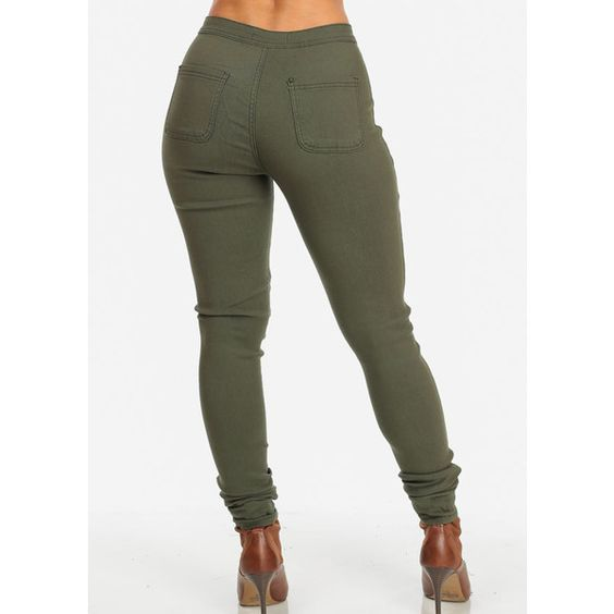 Olive One Button High Waist Skinny Jeans ($25) ❤ liked on