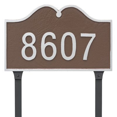 Montague Metal Products Hillsdale Arch Standard One Line Address Plaque with Lawn Stakes Finish: