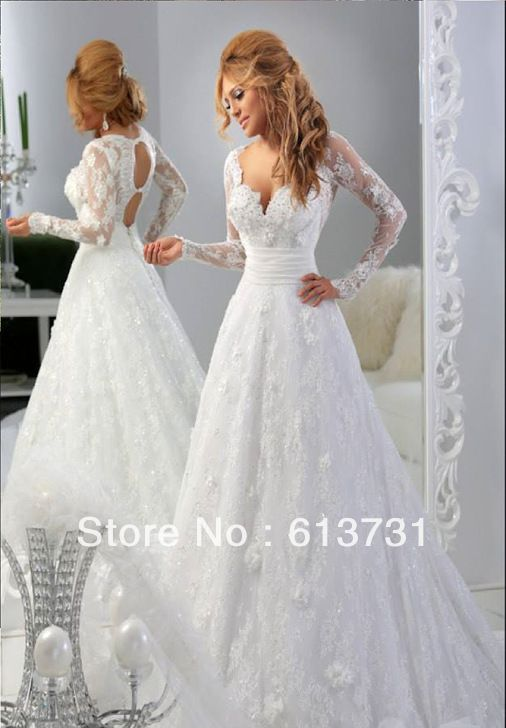 New Fashion A Line V Neck Long Sleeves Open Back White Lace Arabic Wedding Dresses 2014 Bridal Gowns Free Shipping $289.00