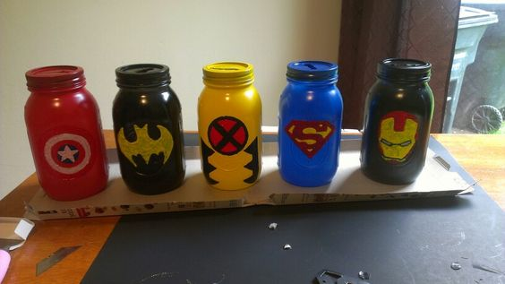 Mason Jars SuperHeroe Piggy Banks