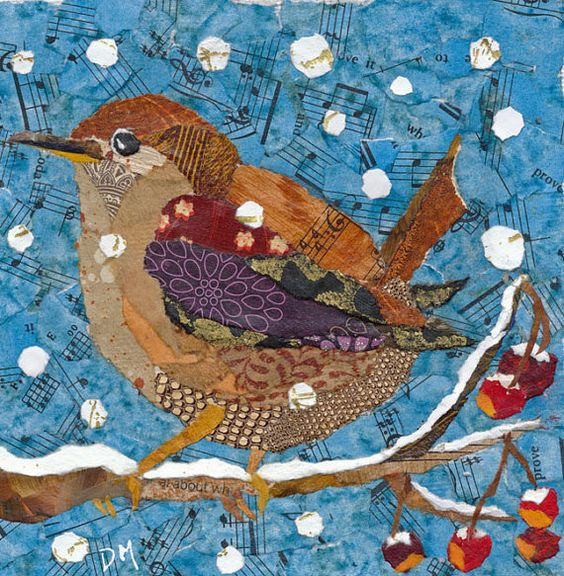 Wren in Winter Original Framed Torn Paper Collage by DawnsGallery,: