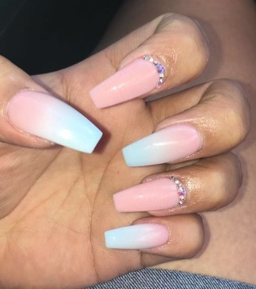 Delicate Pink And Light Blue Nail Polish Light Blue Nails Blue Ombre Nails Baby Blue Nails