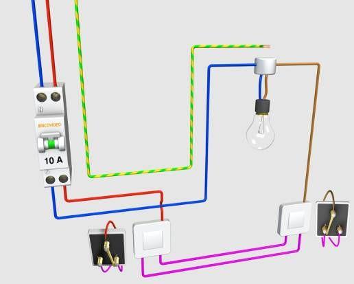 Schema electrique va et vient lectrique pinterest - Branchement luminaire 3 fils ...