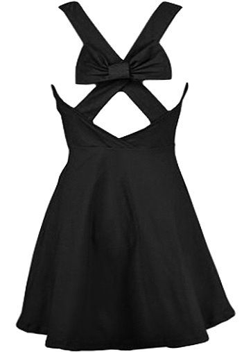 Bow Romancer Dress: Features a classic scoop neckline with princess seams to the bodice, bold criss-crossed straps to the back crowned with a beautiful black bow-tie, and an amazing A-line skirt for an ultra romantic finish.