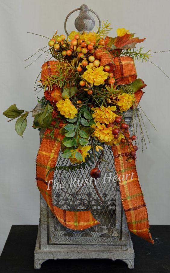 Fall Lantern Swag with Burlap Ribbon by TheRustyHeart on Etsy