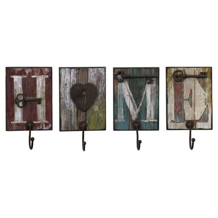 """4 Piece Home Wall Hook Set on Daily Sales!  Wood Distressed $47 on sale 10-9-13  expires in 2 days. (Other Fall items on sale also). This would make a nice DIY project-has the rustic barn look & hooks. 10.5""""X6""""X3"""" indivdual size"""