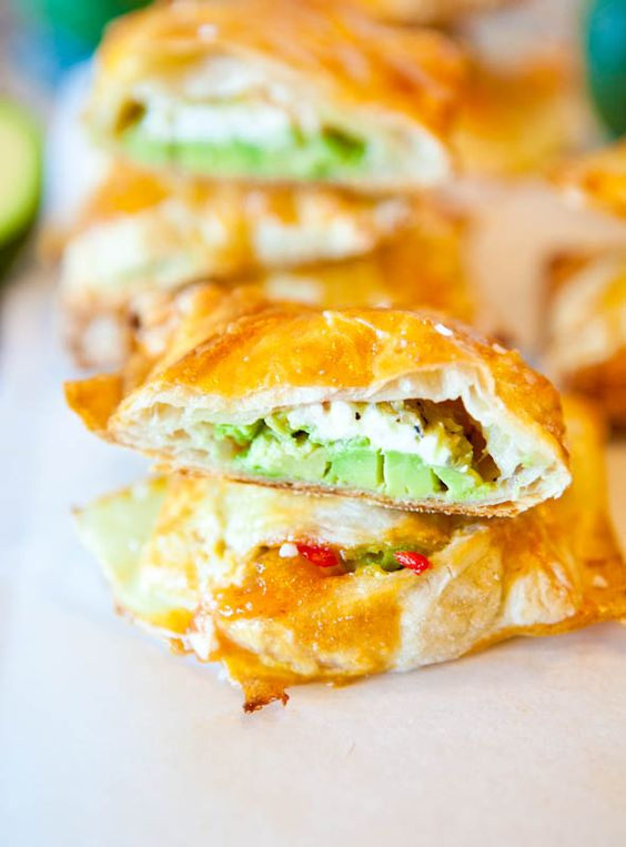 Avocado, cream cheese, and salsa stuffed puff pastries! seems easy.