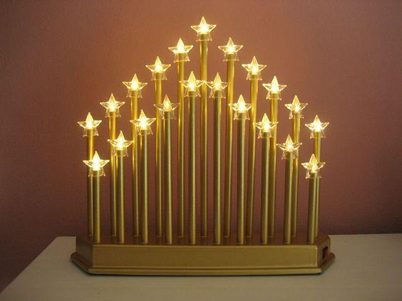 21 LED Schwibbogen Schwippbogen Lichterbogen gold Sterne 26cm Batteriebetrieb
