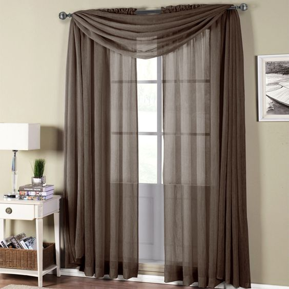 Abri Chocolate Rod Pocket Crushed Sheer Curtain Panel | Highlights ...