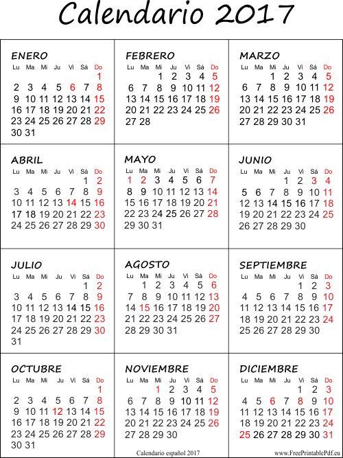 Calendario 2017 con las vacaciones gratis