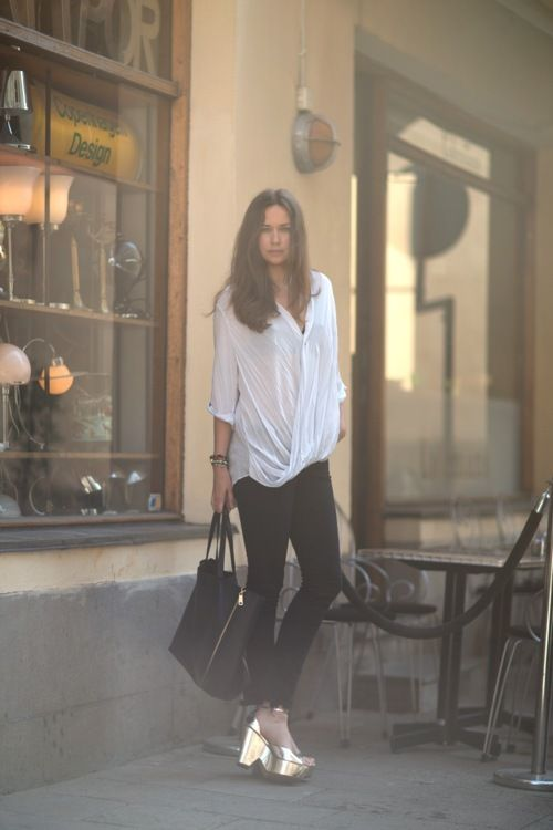 Caroline Blomst of Carolines Mode in a Helmut Lang Lush Voile Top.
