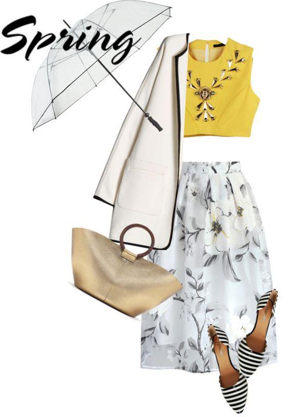 saia midi floral + cropped bordado + casaco longo