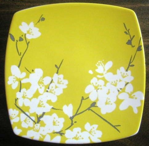 Decorative Dishes - White Gray Yellow Blossom Branch Mini Urban Chic Plate, $9.99 (http://www.decorativedishes.net/white-gray-yellow-blossom-branch-mini-urban-chic-plate/)