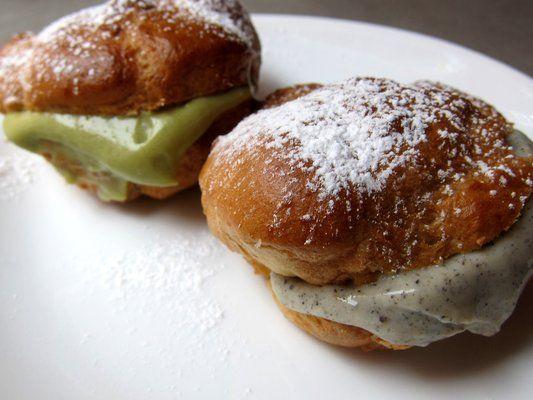 Mini cream puffs w/ green tea, black sesame creams.Panade Puffs & Pastries, 129 Eldridge Street. To try: Chocolate Banana Cream Puff,