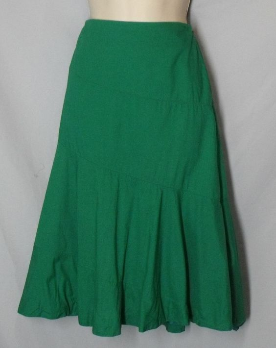 EDME & ESYLLTE Anthropologie size 6 Green 100% Cotton Flared Skirt Unlined