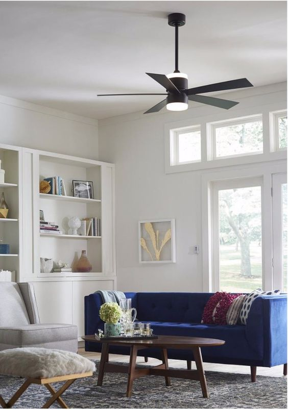 Designed By Fanimation Torch Is A 52 Led Ceiling Fan Boasting A Brushed Nickel Finish Mo Tile Floor Living Room 52 Inch Ceiling Fan Contemporary Ceiling Fans