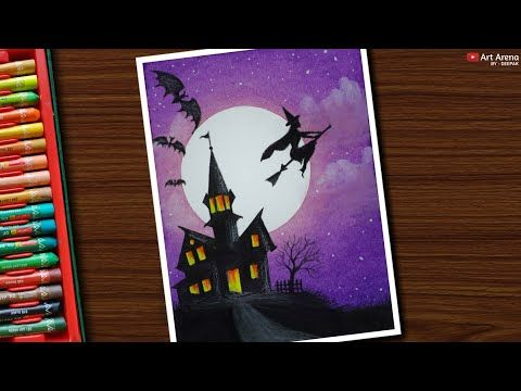 Haunted House Scenery Drawing With Oil Pastels For Beginners