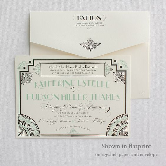 Beautiful Art Deco Invitations   Gatsby   Lucky Luxe Couture Correspondence   Letterpress Wedding Stationery