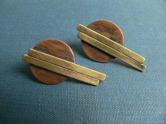 Pendientes colgantes - pendientes de laton cobre plata - hecho a mano por lucialaredo en DaWanda