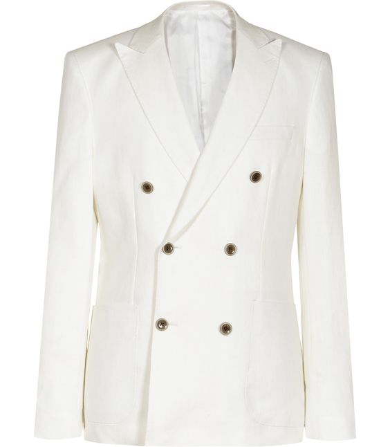 Mens White Linen Double-breasted Blazer - Reiss Pope B