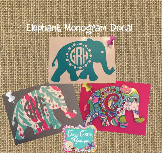 Lilly Pulitzer Inspired Elephant Cutout Monogram Decal - Custom car decals india   how to personalize
